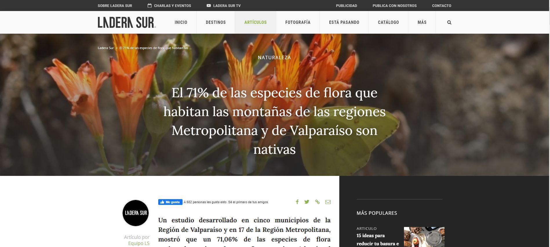 El 71% de las especies de flora que habitan las montañas de las regiones Metropolitana y de Valparaíso son nativas