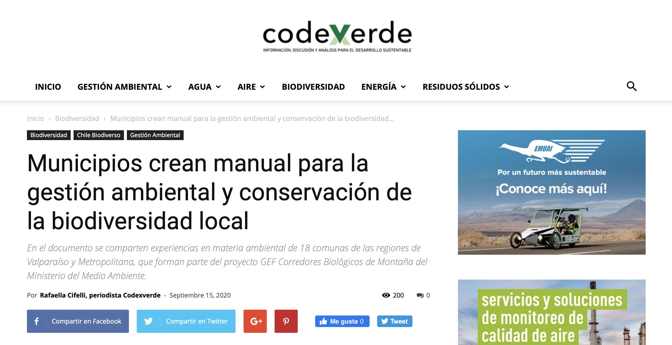 Municipios crean manual para la gestión ambiental y conservación de la biodiversidad local