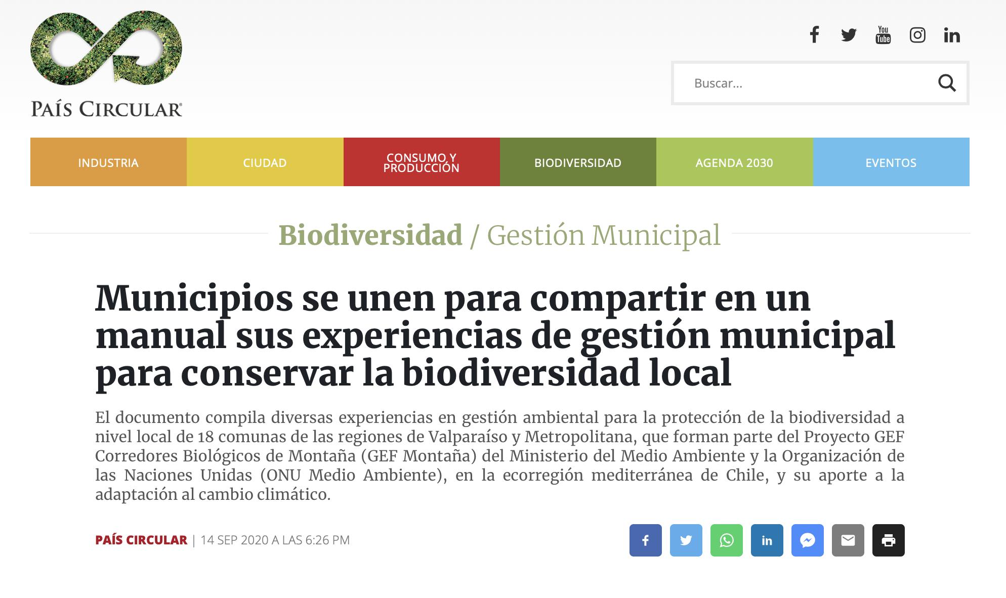 Municipios se unen para compartir en un manual sus experiencias de gestión municipal para conservar la biodiversidad local