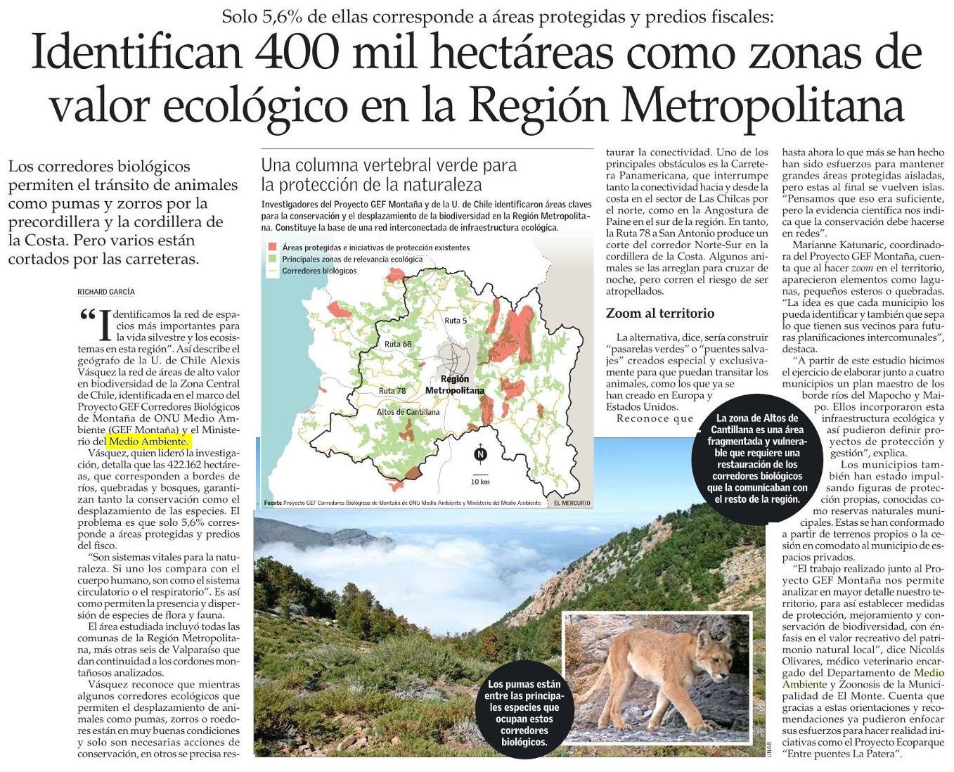Identifican 400 mil hectáreas como zonas de valor ecológico en la Región Metropolitana