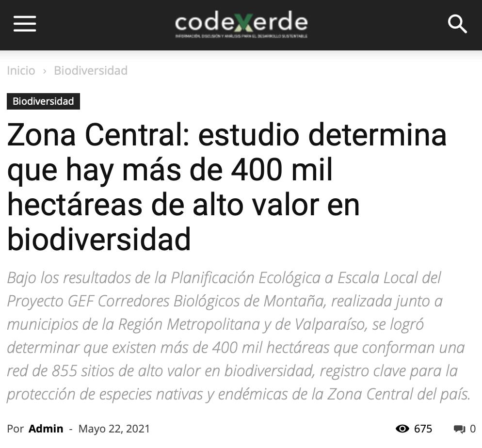 Zona Central: estudio determina que hay más de 400 mil hectáreas de alto valor en biodiversidad