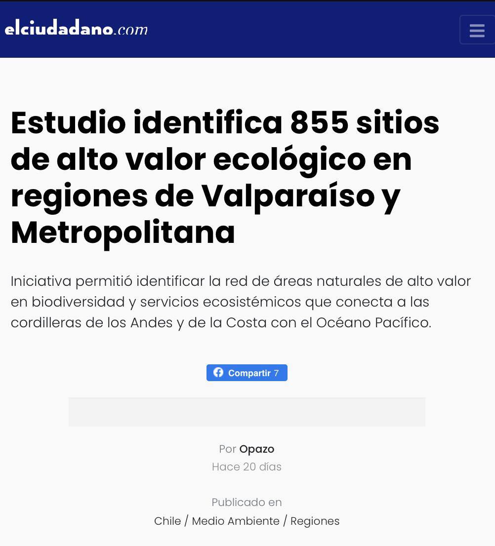 Estudio identifica 855 sitios de alto valor ecológico en regiones de Valparaíso y Metropolitana